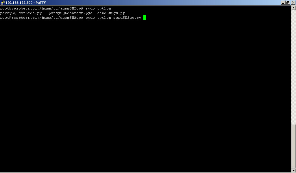 RaspberryPI launching SMS GATEWAY Python script