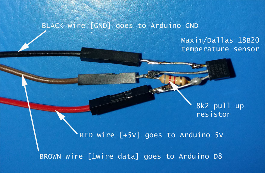 wiring DALLAS/MAXIM 1WIRE 18B20 / 18S20 1WIRE temperature sensor with Arduino UNO