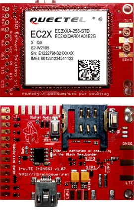 4G SHIELD MODULAR MODEM - Arduino BEAGLEBONE RASPBERRY PI compatible, top & bottom view * l-LTE 1.07