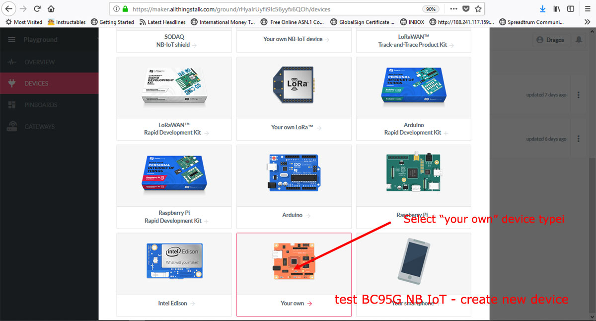 test BC95G NB IoT - create AllThingsTalk cloud xyz-mIoT device