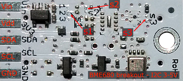 s-Sense BME680 sensor breakout top - pinout description