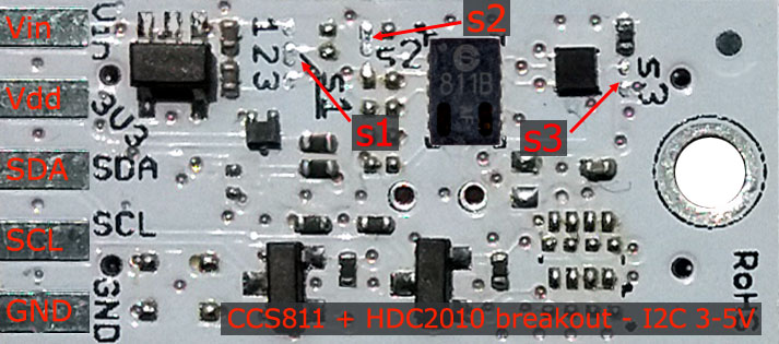 s-Sense CCS811 + HDC2010 sensors breakout top - pinout description