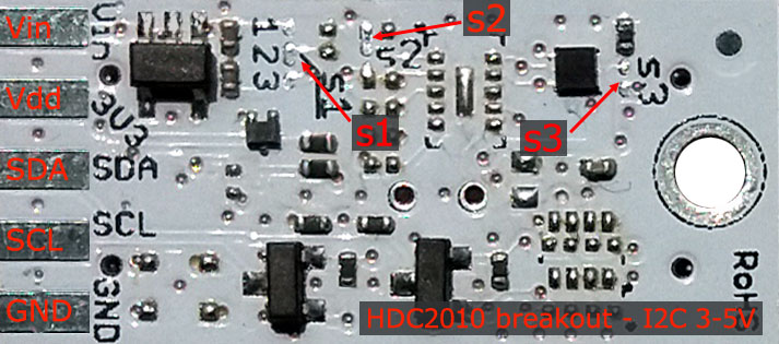 s-Sense HDC2010 sensor breakout top - pinout description