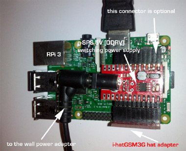 g-SPS 5V [LiPOL] switching power supply interfaced with i-hatGSM3G powering Raspberry PI 3