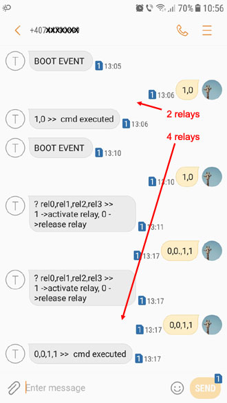 Relay controller SMS commands and replies