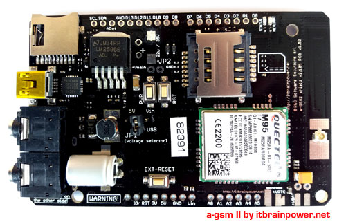 integrated antenna, dual SIM, full size GSM shield compatible all Arduino, Teensy, BeagleBone and RASPBERRY PI : a-gsmII by itbrainpower.net