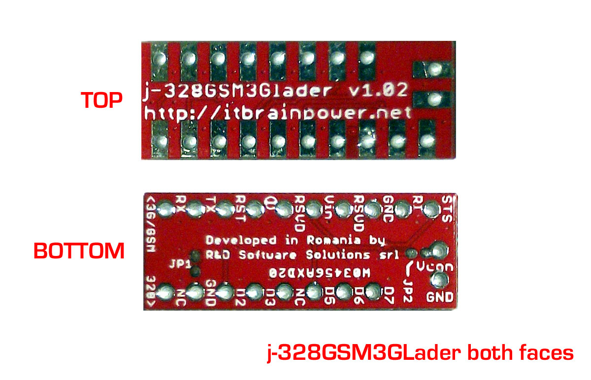 j-328GSM3GLader Arduino Pro Mini modem adapter board both faces brief introduction