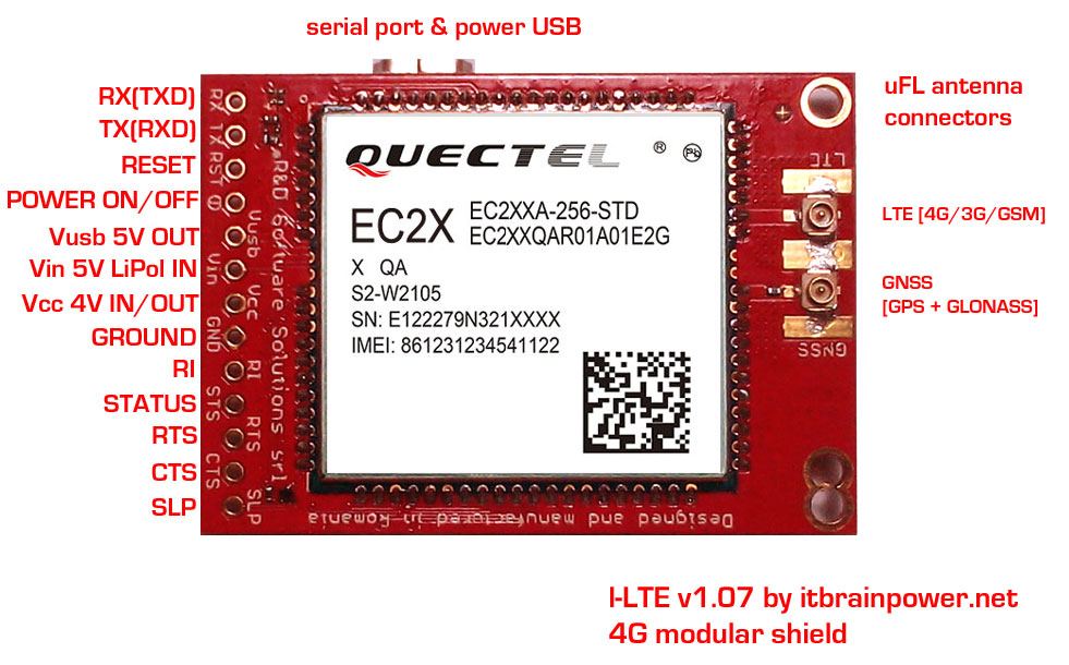 l-LTE 4G/3G/GSM modem + GNSS shield top side