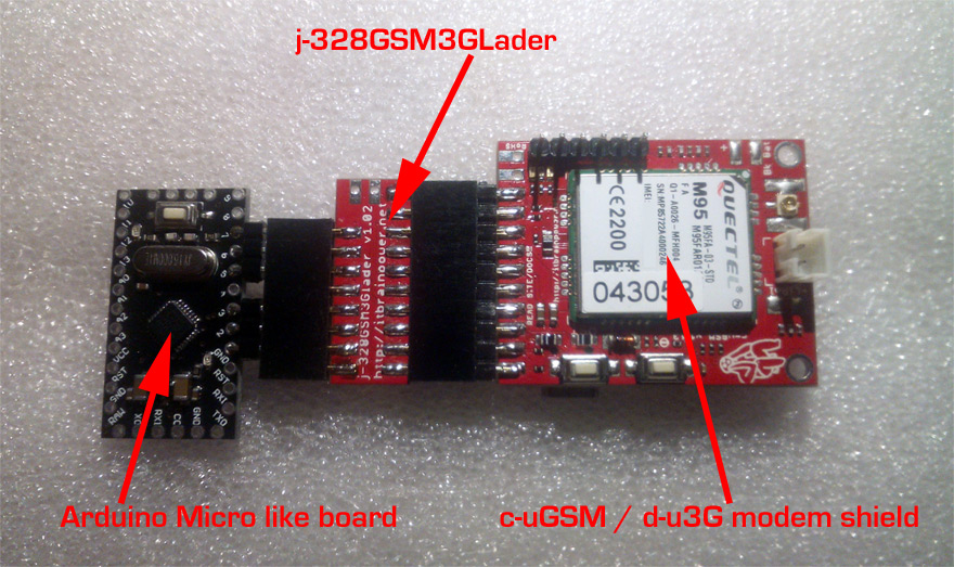 mobile IoT - j-328GSM3GLader - Arduino Pro Mini connected with modular modem