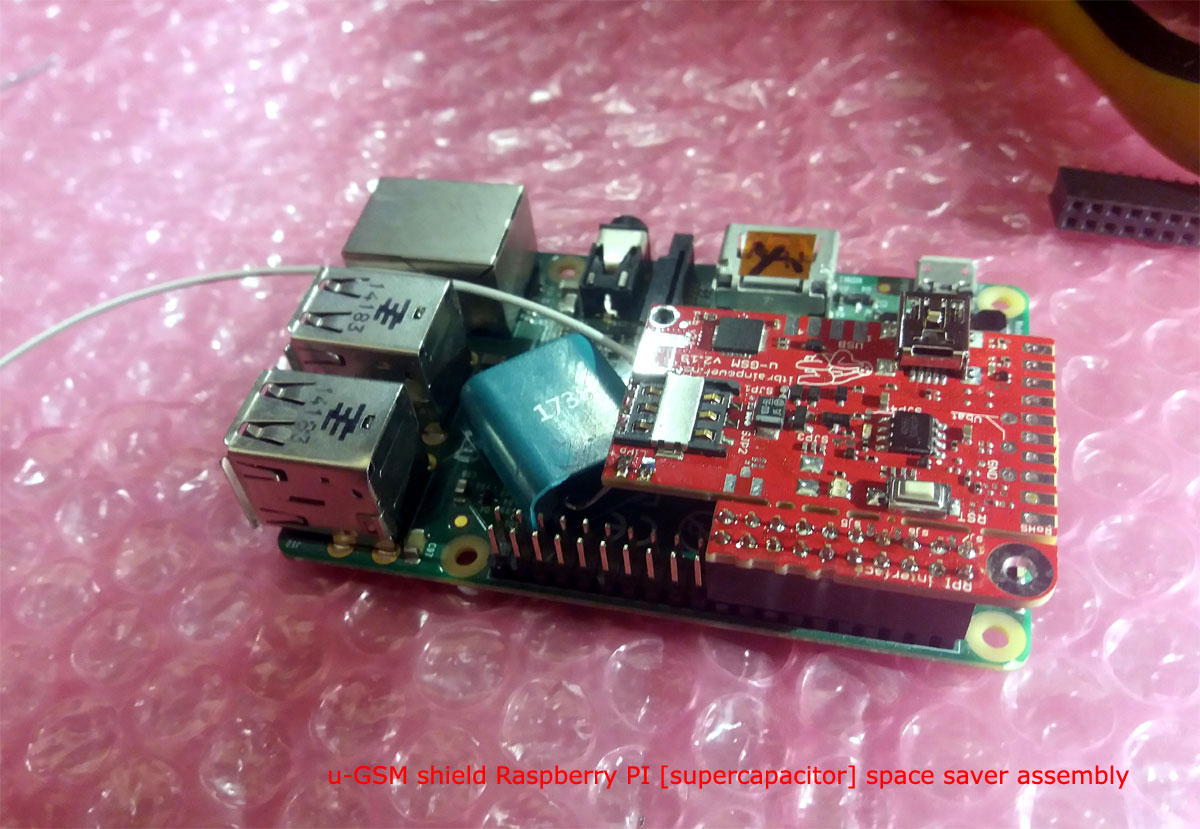 u-GSM Raspberry PI assembly with supercapacitor - compact version
