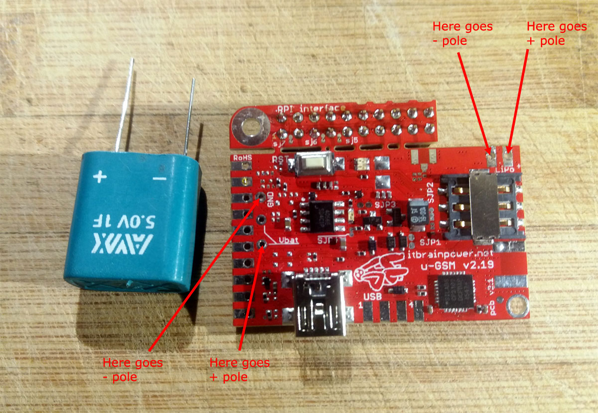 u-GSM supercapacitor soldering for Raspberry PI