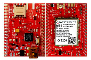 low power ARM0 shield equipped w. Quectel M95FA - GSM / GPRS modem global version - Arduino compatible, both sides view, 300px * xyz-mIoT v. 2.09